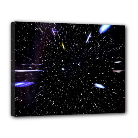 Space Warp Speed Hyperspace Through Starfield Nebula Space Star Hole Galaxy Canvas 14  X 11  by Mariart