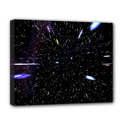 Space Warp Speed Hyperspace Through Starfield Nebula Space Star Hole Galaxy Deluxe Canvas 20  X 16   by Mariart