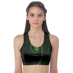 Space Green Hypnotizing Tunnel Animation Hole Polka Green Sports Bra by Mariart