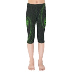 Space Green Hypnotizing Tunnel Animation Hole Polka Green Kids  Capri Leggings