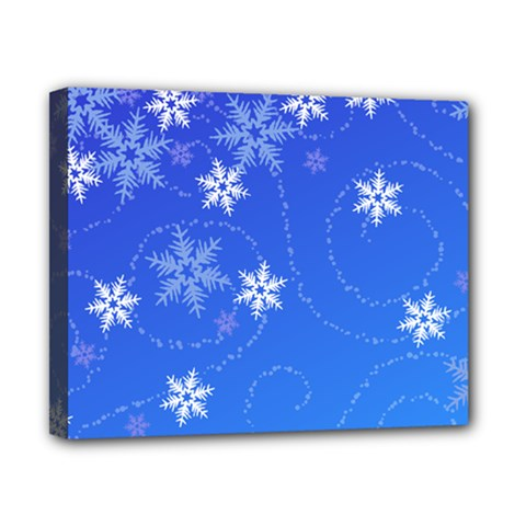 Winter Blue Snowflakes Rain Cool Canvas 10  X 8