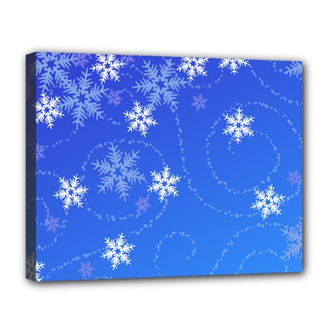 Winter Blue Snowflakes Rain Cool Canvas 14  X 11  by Mariart