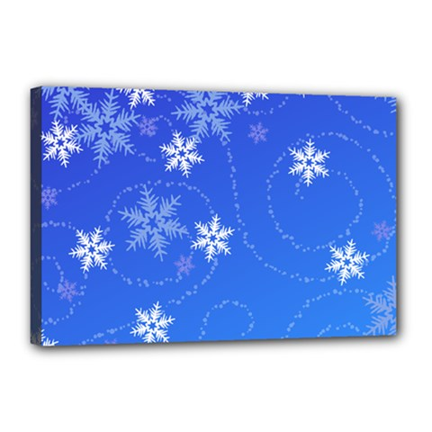 Winter Blue Snowflakes Rain Cool Canvas 18  X 12  by Mariart