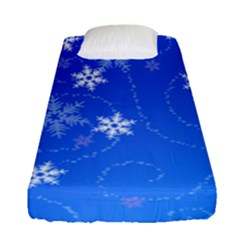 Winter Blue Snowflakes Rain Cool Fitted Sheet (single Size)