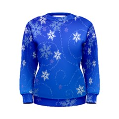 Winter Blue Snowflakes Rain Cool Women s Sweatshirt by Mariart