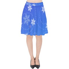 Winter Blue Snowflakes Rain Cool Velvet High Waist Skirt by Mariart