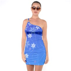 Winter Blue Snowflakes Rain Cool One Soulder Bodycon Dress