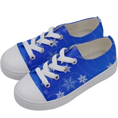 Winter Blue Snowflakes Rain Cool Kids  Low Top Canvas Sneakers by Mariart