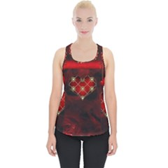 Wonderful Elegant Decoative Heart With Flowers On The Background Piece Up Tank Top by FantasyWorld7