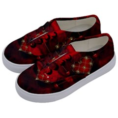 Wonderful Elegant Decoative Heart With Flowers On The Background Kids  Classic Low Top Sneakers by FantasyWorld7