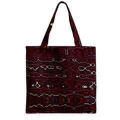Hippy Boho Chestnut Warped Pattern Grocery Tote Bag by KirstenStar