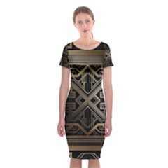 Art Nouveau Classic Short Sleeve Midi Dress