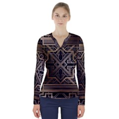 Art Nouveau V Neck Long Sleeve Top