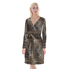 Art Nouveau Long Sleeve Velvet Front Wrap Dress