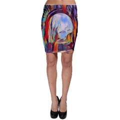 Abstract Tunnel Bodycon Skirt