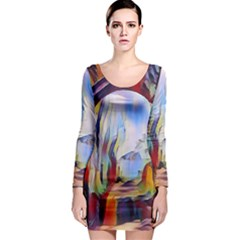 Abstract Tunnel Long Sleeve Bodycon Dress