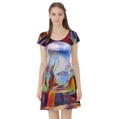 Abstract Tunnel Short Sleeve Skater Dress