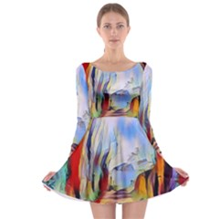 Abstract Tunnel Long Sleeve Skater Dress