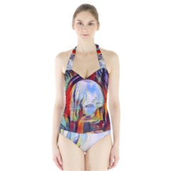 Abstract Tunnel Halter Swimsuit