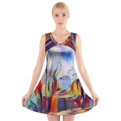 Abstract Tunnel V Neck Sleeveless Skater Dress