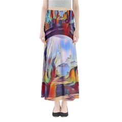 Abstract Tunnel Full Length Maxi Skirt