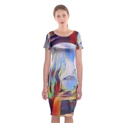 Abstract Tunnel Classic Short Sleeve Midi Dress