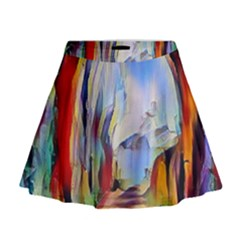 Abstract Tunnel Mini Flare Skirt