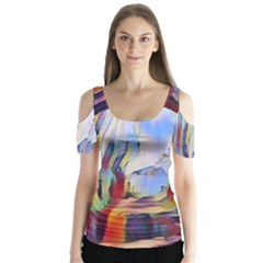 Abstract Tunnel Butterfly Sleeve Cutout Tee