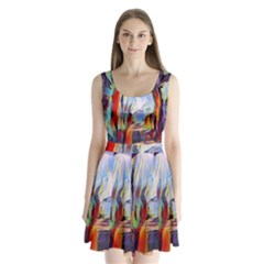 Abstract Tunnel Split Back Mini Dress  by 8fugoso