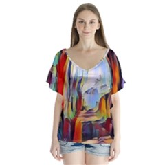 Abstract Tunnel V Neck Flutter Sleeve Top