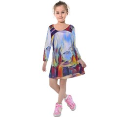 Abstract Tunnel Kids  Long Sleeve Velvet Dress