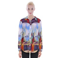 Abstract Tunnel Womens Long Sleeve Shirt