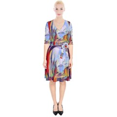 Abstract Tunnel Wrap Up Cocktail Dress