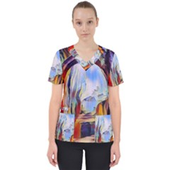 Abstract Tunnel Scrub Top