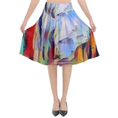 Abstract Tunnel Flared Midi Skirt
