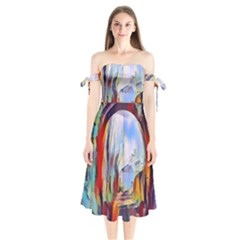 Abstract Tunnel Shoulder Tie Bardot Midi Dress