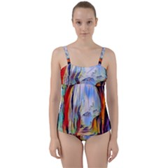 Abstract Tunnel Twist Front Tankini Set