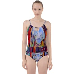 Abstract Tunnel Cut Out Top Tankini Set