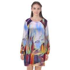 Abstract Tunnel Long Sleeve Chiffon Shift Dress  by 8fugoso