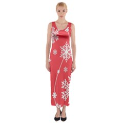 Winter Pattern 9 Fitted Maxi Dress by tarastyle