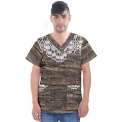 Shabbychicwoodwall Men s V Neck Scrub Top by 8fugoso