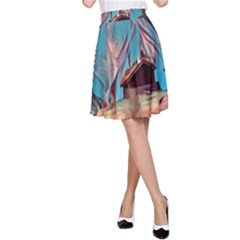 Modern Norway Painting A Line Skirt by 8fugoso