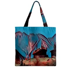 Modern Norway Painting Zipper Grocery Tote Bag by 8fugoso