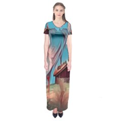 Modern Norway Painting Short Sleeve Maxi Dress by 8fugoso
