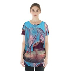 Modern Norway Painting Skirt Hem Sports Top by 8fugoso