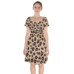 Leopard Print Short Sleeve Bardot Dress by TRENDYcouture