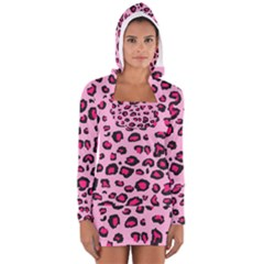 Pink Leopard Long Sleeve Hooded T Shirt