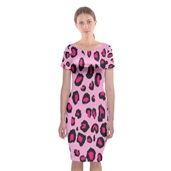 Pink Leopard Classic Short Sleeve Midi Dress