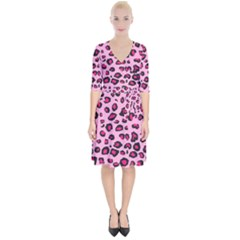 Pink Leopard Wrap Up Cocktail Dress