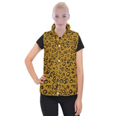 Golden Leopard Women s Button Up Puffer Vest by TRENDYcouture